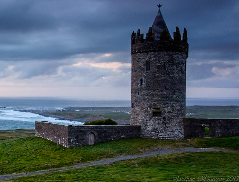 Doonagore Castle perches on the hill above Doolin